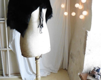 Shearling Wrap Stole in Black or Ecru Beige - Made to Order - Various Lengths available  Free Shipping.