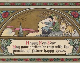 Horizons Rosy- 1900s Antique Postcard- Happy New Year- Dog Art Card- Artist Signed C G Jr- Bonton Art Co- Holiday Decor- Paper Ephemera