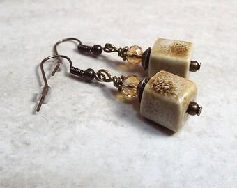 Cube Earrings, Ceramic Earrings, Antiqued Brass, Square Earrings, Drop Earrings, Dangle Earrings, Earth Tones, Brown Tan Cream, Womens