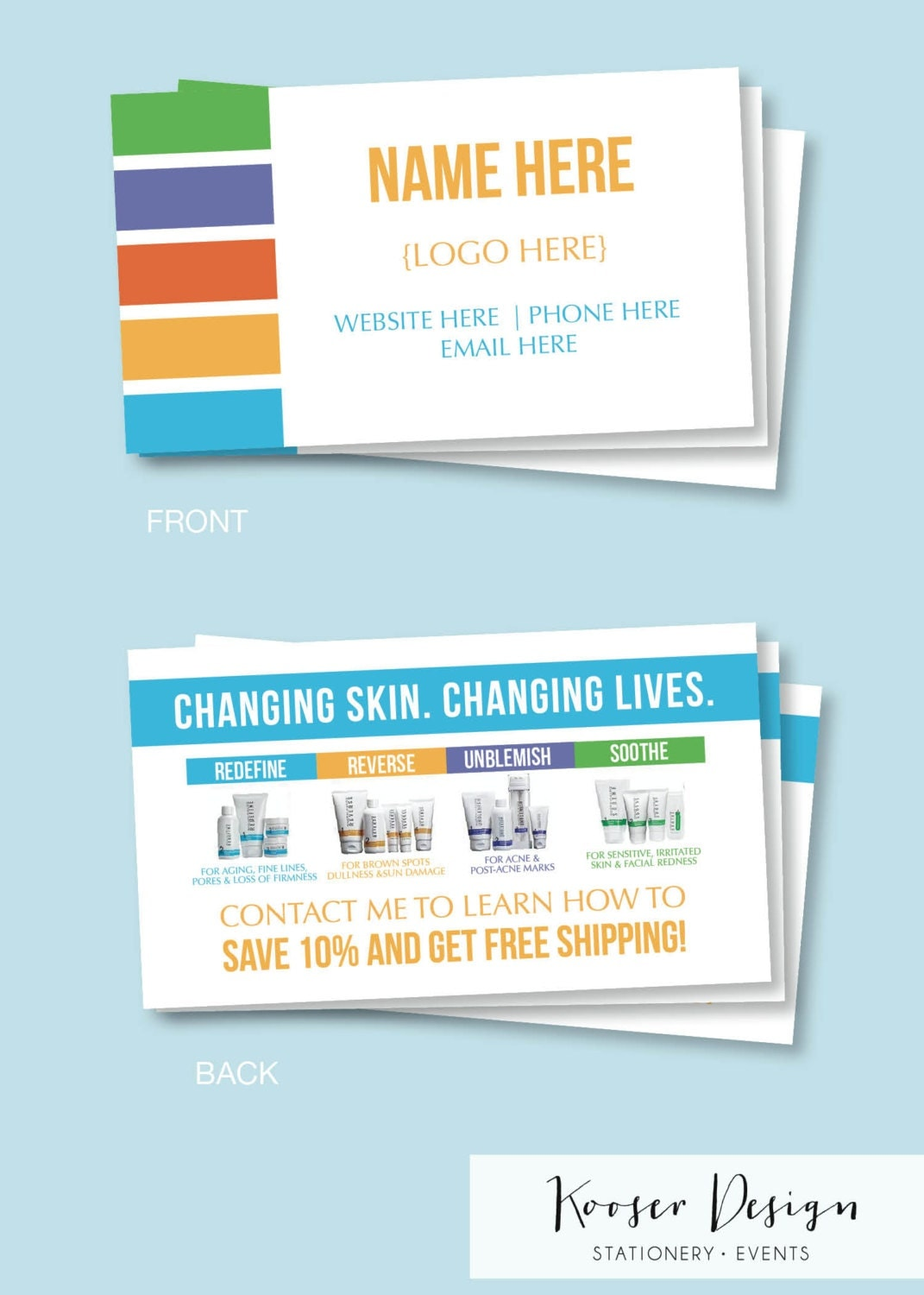Skin Care Business Cards Download or Print Free Shipping