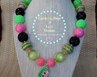 Girls Chunky Bubblegum Necklace Summer Rhinestone Watermelon Pink, Lime Green & Black