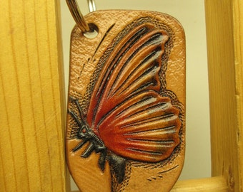 Handmade keychain , sunburst colors butterfly , leather key ring , key fob , custom keychain , sunburst butterfly