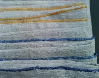 Linen Tea Towels, Fun Color Stitching, Set of 3, Wedding Gift