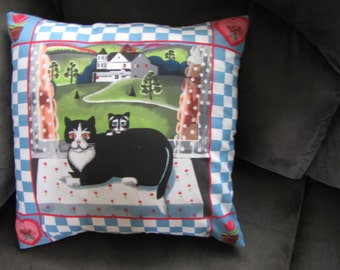 American Shorthair Cats Kittens pillow Cover 16 x 16 Black Travel Country Home decor