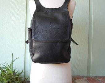 Vtg Ellington Black Leather Backpack Pebbled Leather Portland Oregon Designer Book Laptop Ipad Carrier Case Bag Ruck Sack Pouch Organizer