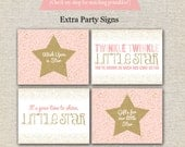 Twinkle Twinkle Little Star First Birthday Party Signs   Twinkle Twinkle Little Star Party Printables   Pink and Gold Birthday Party Signs