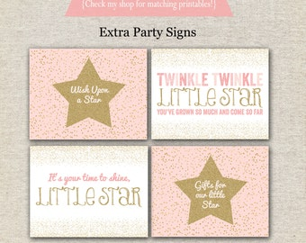 Twinkle Twinkle Little Star First Birthday Party Signs | Twinkle Twinkle Little Star Party Printables | Pink and Gold Birthday Party Signs