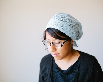 Light Blue Lace Snood Headcovering | Women's Headcovering Veil