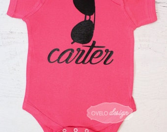 THE ORIGINAL Aviator with Custom Personalized Name Sunglasses Bodysuit pictured in Hot Pink