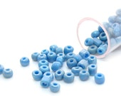 Seed Beads : 11 grams (150+ beads) Sky Blue Glass Seed Beads 3mm with 1.5mm hole -- with plastic tube container -- #75901.G7