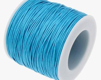 Waxed Cotton Cord : 10 yards   30 feet Turquoise Blue 1mm Waxed Cord String / Bracelet Cord / Macrame / Chinese Knotting Shamballa  189/30