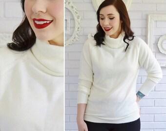 Vintage Cream Acrylic Turtlneck Sweater by Designers Originals Size Small or Medium