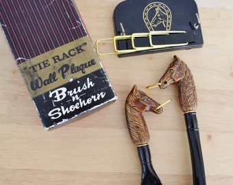 Vintage Brush Shoehorn and Tie Rack with Horse Handles and Equestrian Details Made in Japan