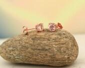 Morganite Scroll Earrings 14k Rose Gold Morganite Stud Earrings 6mm Round Post Earring  P147