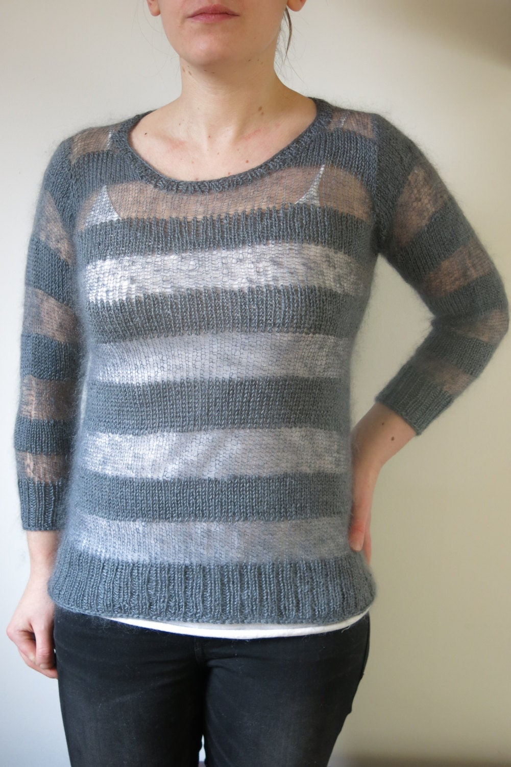 PATTERN Striped Mohair Sweater Knitting Pattern Pdf / Stripy