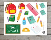 16 kawaii school stickers / planner stickers / kawaii pencil stickers / kawaii note books / school bag / school icons / kawaii stickers