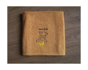 Monkey with Banana - Embroidered bath towel