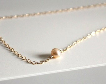 Pearl Necklace Gold, Gold Filled Choker, Bridal Jewelry Wedding, Single Pearl Necklace, Bridal Necklace, Bridesmaids Gift for Her