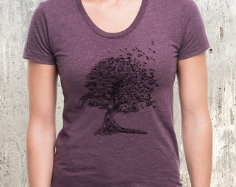 Tree Dissolving Into Birds - American Apparel Women's Scoop Neck T-Shirt