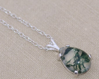 Moss Agate Doublet Gemstone Necklace,Moss Agate Pear Teardrop,Sterling Silver Gemstone Necklace,Minimal,Pendant Necklace,Unique Gift For Her