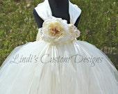 Ivory Cream Flower Girl Tutu Dress with Tulle Veil Headband for Weddings, Custom Wedding Order