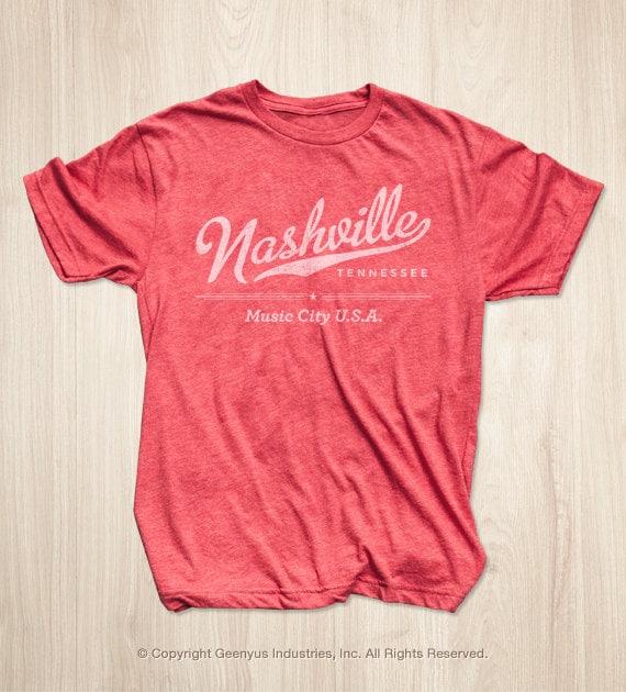 Nashville t shirt in vintage red for Nashville t shirt printing