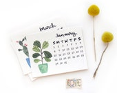 2017 Small Desk Calendar with Wooden Stand | Watercolor + Calligraphy Handmade Desk Calendar