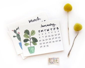 SALE 50% OFF 2017 Small Desk Calendar with Wooden Stand | Watercolor + Calligraphy Handmade Desk Calendar