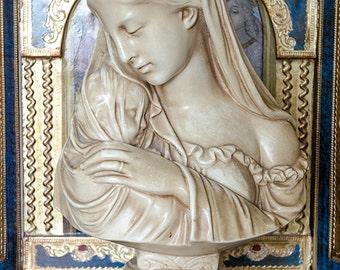 Vintage Bust Madonna and Christ Child, R.Monti, Alexander Backer, Plaster, 1930's, Signed