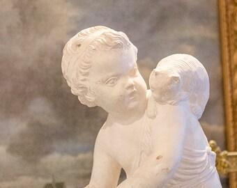 SALE!! 50% OFF!! Vintage Borghese Cherub Statue, with Cat, Italian, White Plaster