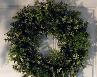 Boxwood Wreath - Wreath -  Fern Wreath - Front Door Wreath -Year Round -Outdoor WreathWreath- Burlap