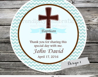 Baptism, Communion, Confirmation, Religious, Set of 12 Personalized Favor Tags, Stickers, mi primera comunion, mi bautizo, cross, brown blue