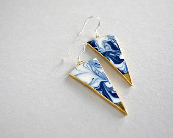 Blue marbled triangle earrings - porcelain and sterling (925) silver jewelry - porcelain dangle earrings