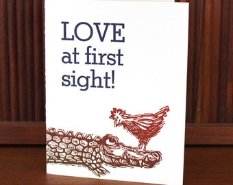 """Letterpress Valentine I Love You Card """"LOVE at first sight!"""""""