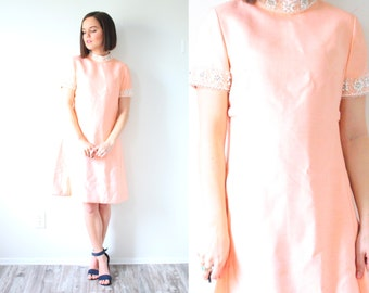 Vintage light pink mod 1960's dress // short sleeve pink dress // 1950's beaded pearl neckline // peachy dress / small mod fancy party dress