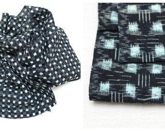 Japanese Kasuri Ikat Cotton. Vintage Woven Folk Fabric. Indigo Blue Black Scarf or Fabric Supply (Ref: 1175)
