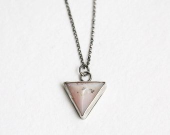 Pink Opal Necklace, Stone Opal, Pink Triangle Pendant, Pyramid, 925 Sterling