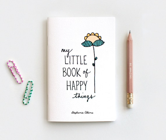 Stocking Stuffer Notebook, Hand Lettered Journal & Pencil Set, Midori Insert - My Little Book of Happy Things, Personalized Floral Notebook
