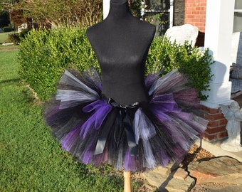 "Adult Black Tutu with a mix of lavender, purple and plum mixed in for waist up to 34 1/2"" Perfect for Halloween Costumes & Adult cake smash"