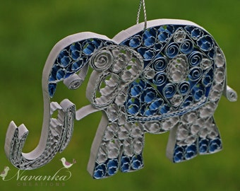 Paper Quilling Elephant  Ornament, Gray and Blue Elephant Ornament in a gift box, Indian Wedding gift, Paper Anniversary, Elephant Keepsake