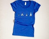 time to settle down Teepee Tee, Yoga Tee, Hiking Tee, Blue Tee, S,M,L,XL