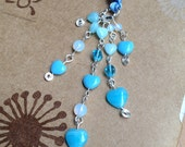 Blue Heart Bookmark Beaded Ribbon Book Thong Hearts Valentines Day Love