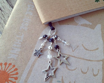 Shooting Stars Book Thong Beaded Ribbon Bookmark Galaxy Science Teacher