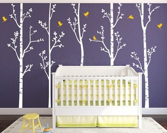 """Nursery Tree Baby Wall Decals Removable Vinyl Wall Stickers -Set of Five Birch Trees (96""""H) - Free Custom Colors PT-0275-2"""