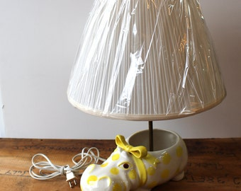 Ceramic Hippopotamus lamp - white and yellow vintage lamp - polka dots and a bow - vintage children's room lamp