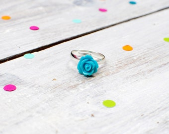 Teal Rose Ring | Turquoise Flower Ring | Adjustable
