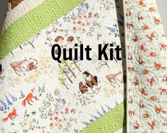 Woodland Baby Quilt Kit, DIY Project, Forest Frolic Animals, Bears Deer Fox, Brown Green, Boy or Girl Simple Easy Beginner, Striped Pattern