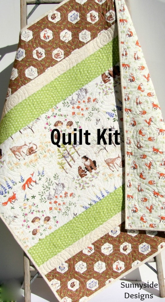 last one woodland baby quilt kit diy project forest frolic 87264