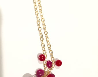 Gold fill Necklace, Red lampwork, red ruby, Red coral, 18 inches, Lilyb444
