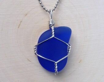 Midnight Waters- Deep Blue Sea Glass Pendant- Rare Color